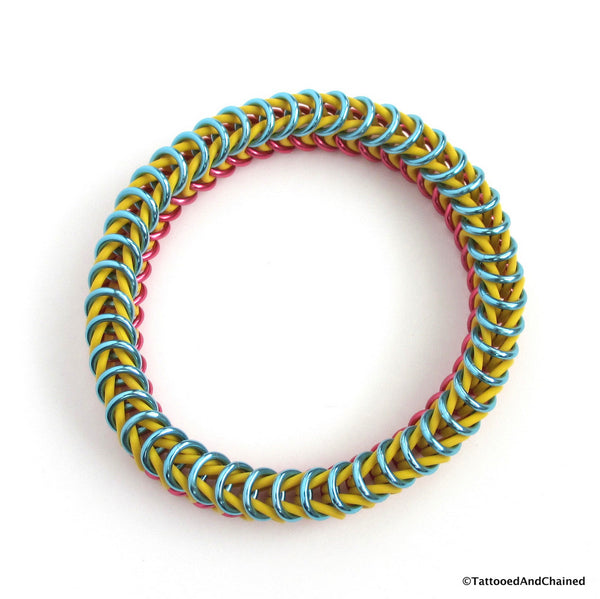 Pansexual pride stretchy bracelet, chainmaille box chain - Tattooed and Chained Chainmaille  - 5