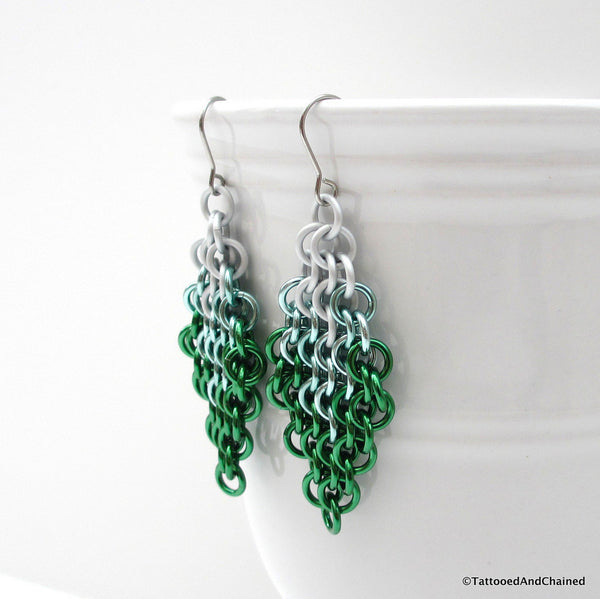 Green ombre chainmaille earrings, Euro 4 in 1 weave - Tattooed and Chained Chainmaille  - 2