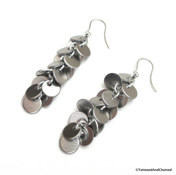 Shaggy disc chainmaille earrings, brushed aluminum - Tattooed and Chained Chainmaille  - 2