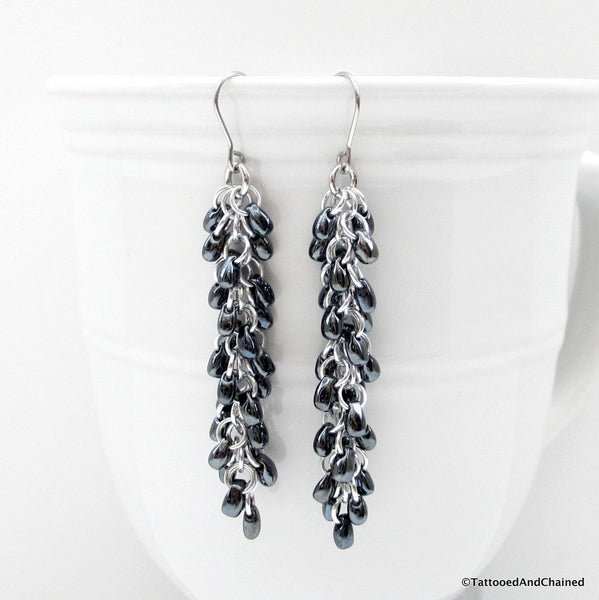 Hematite gray beaded chainmaille earrings, Shaggy Loops weave - Tattooed and Chained Chainmaille  - 1