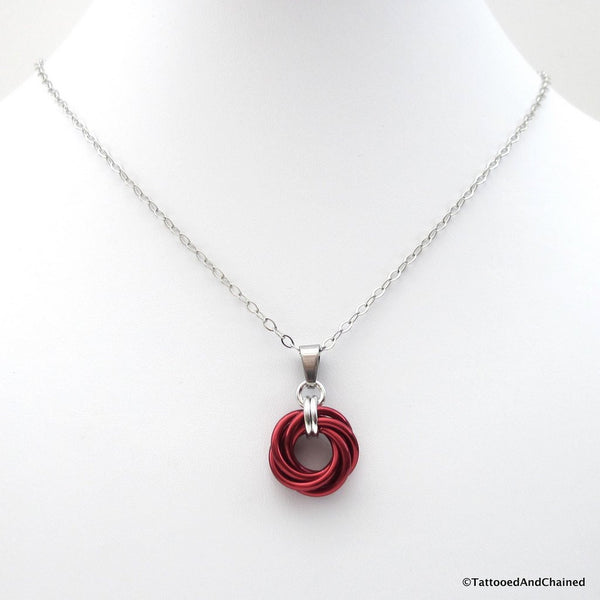 Red chainmaille love knot pendant - Tattooed and Chained Chainmaille  - 3