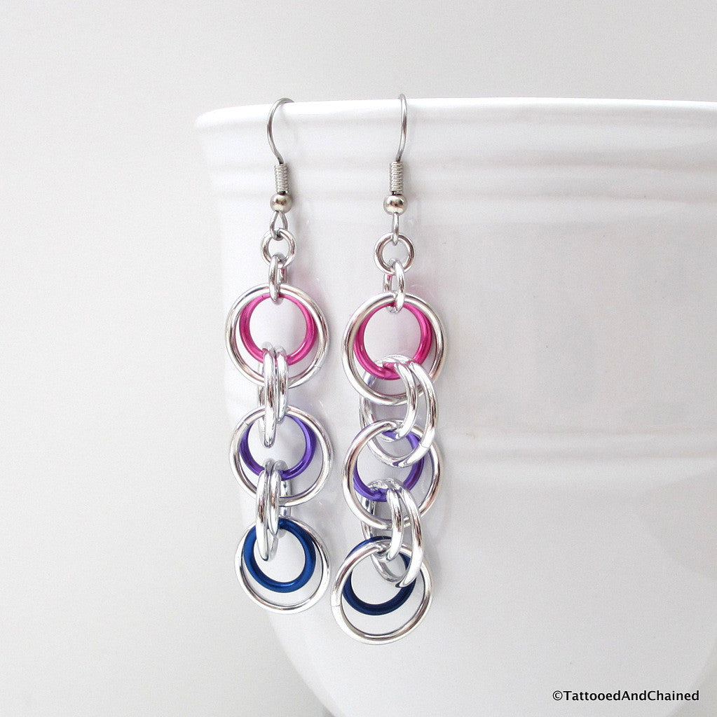 Bisexual pride earrings, simple chainmaille jewelry - Tattooed and Chained Chainmaille  - 1
