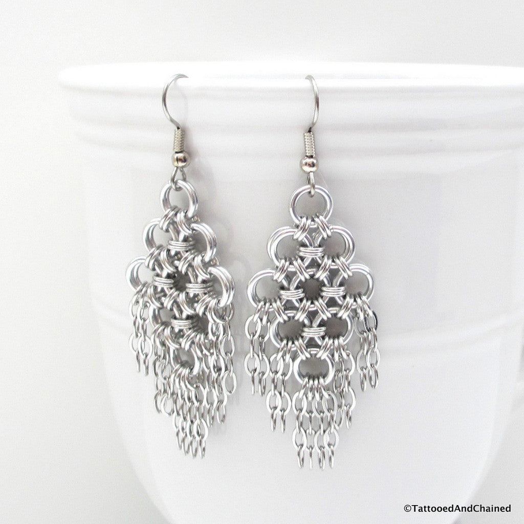 Chainmaille statement earrings, silver aluminum with steel chains - Tattooed and Chained Chainmaille  - 1