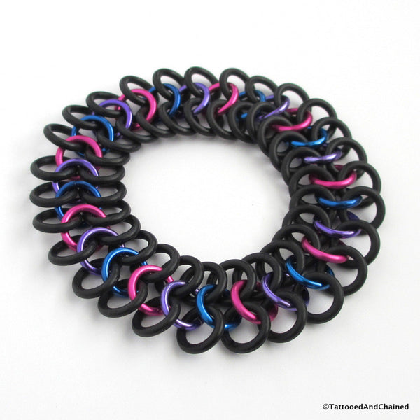 Bisexual pride stretchy bracelet, chainmaille Euro 4 in 1 weave - Tattooed and Chained Chainmaille  - 2