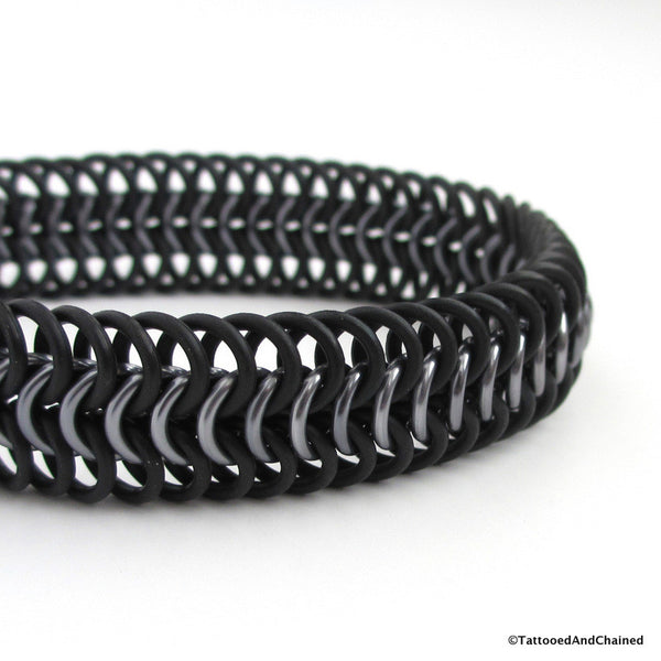 Chainmaille stretchy bracelet, European 6 in 1 weave; black and gray - Tattooed and Chained Chainmaille  - 2