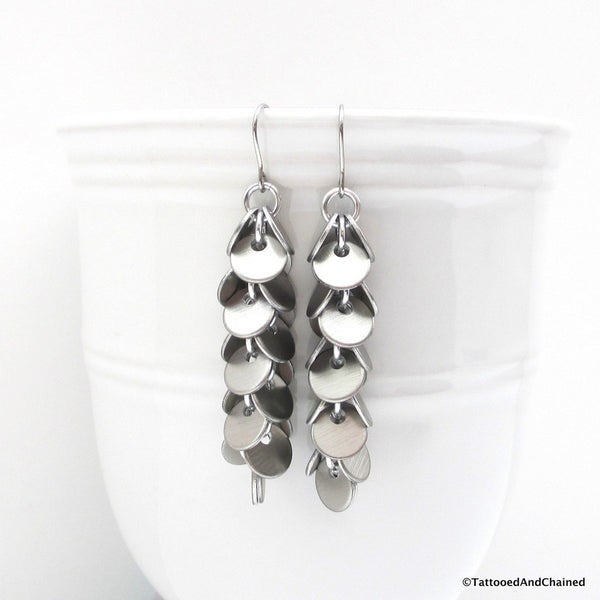 Shaggy disc chainmaille earrings, brushed aluminum - Tattooed and Chained Chainmaille  - 3