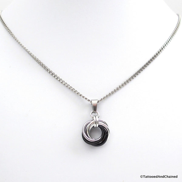 Silver, gray, and black pendant, chainmaille love knot - Tattooed and Chained Chainmaille  - 4