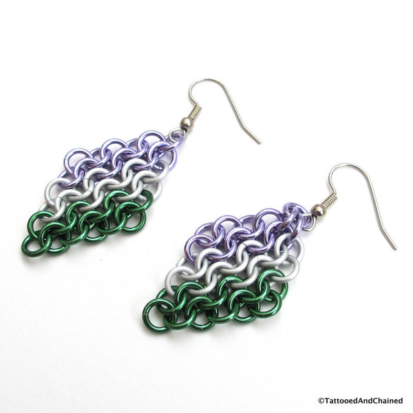 Genderqueer pride earrings, chainmaille European 4 in 1 weave - Tattooed and Chained Chainmaille  - 3