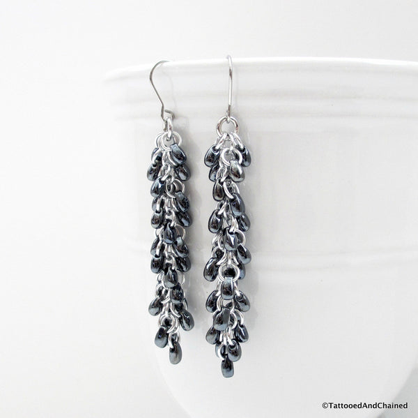 Hematite gray beaded chainmaille earrings, Shaggy Loops weave - Tattooed and Chained Chainmaille  - 3