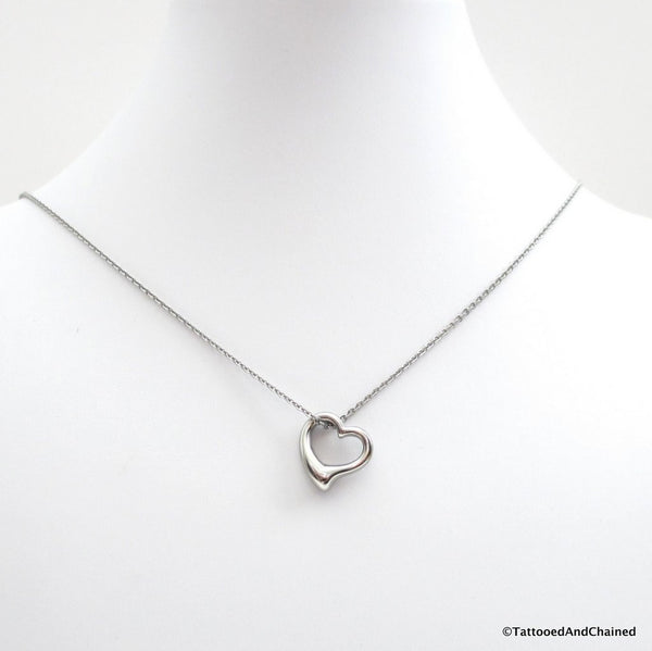 Open heart necklace, stainless steel jewelry - Tattooed and Chained Chainmaille  - 2