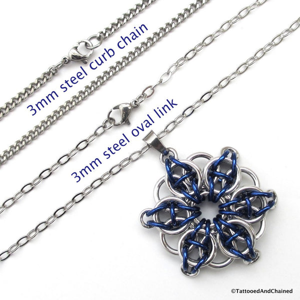 Blue chainmaille pendant, Celtic star - Tattooed and Chained Chainmaille  - 2