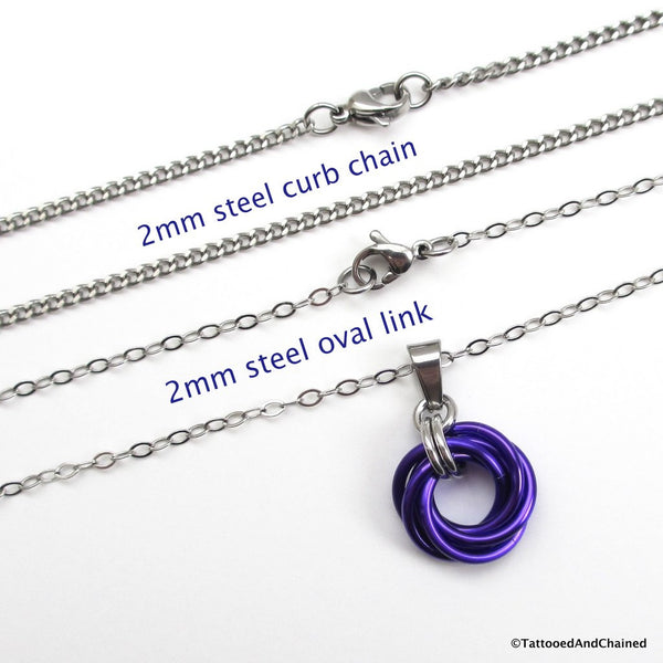 Purple chainmaille love knot pendant - Tattooed and Chained Chainmaille  - 2