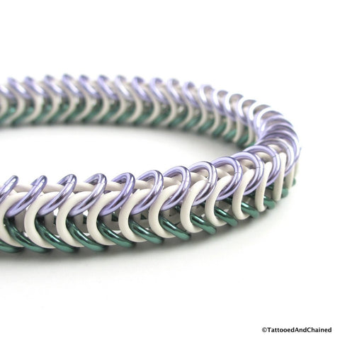 Genderqueer pride stretchy bracelet, chainmaille box chain