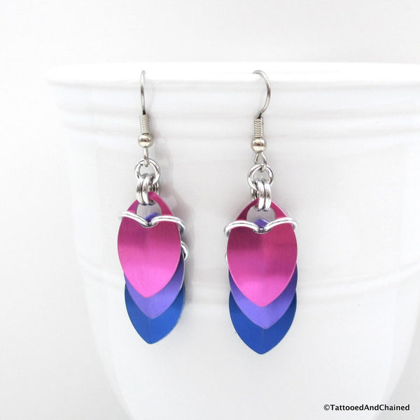 Bisexual pride earrings, chainmaille scales earrings - Tattooed and Chained Chainmaille  - 1