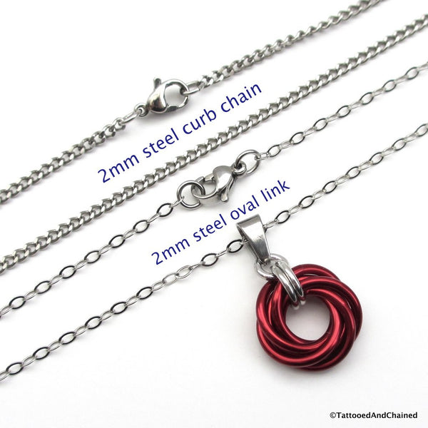 Red chainmaille love knot pendant - Tattooed and Chained Chainmaille  - 2