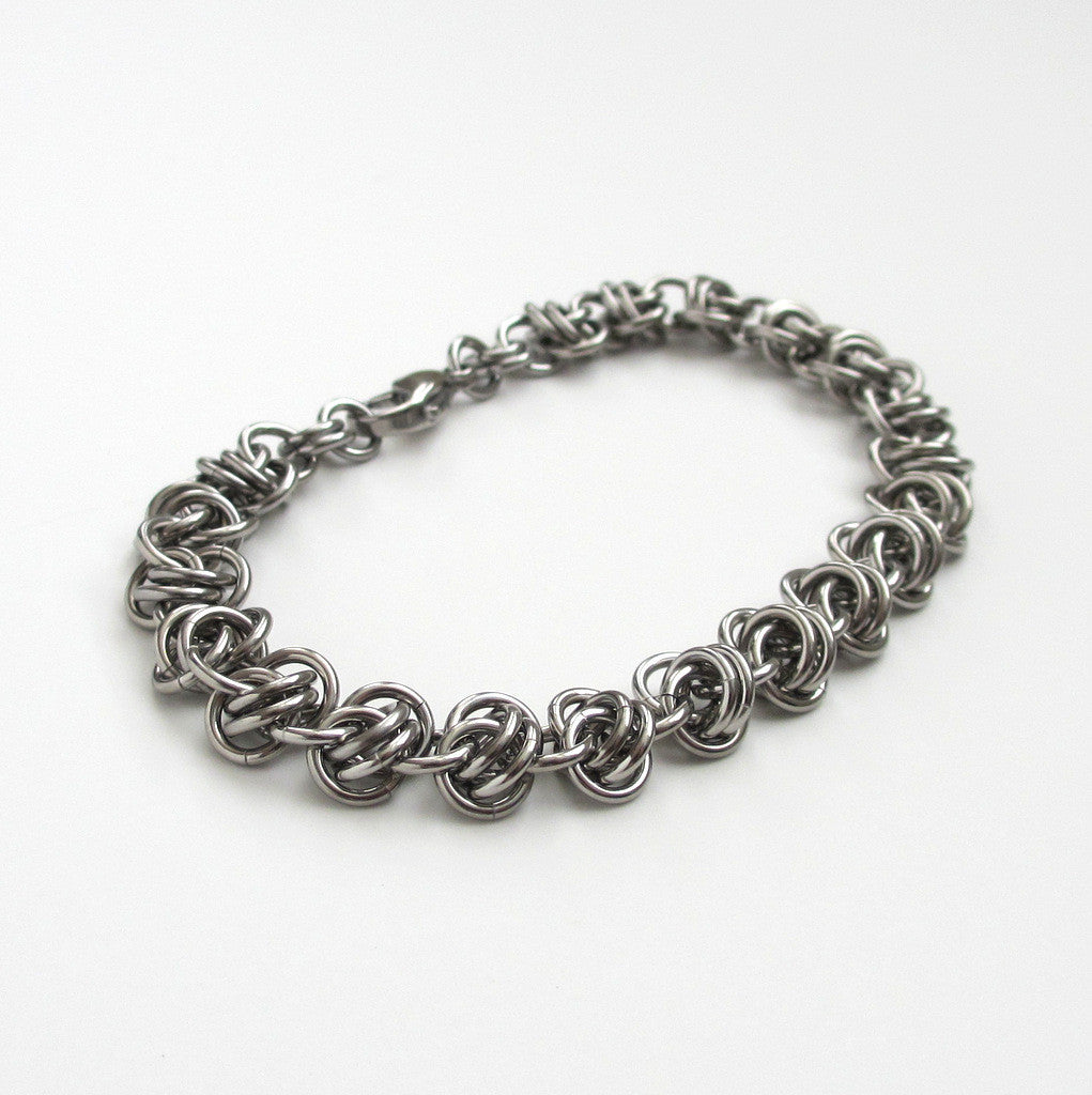 Stainless steel chainmaille bracelet, barrel weave - Tattooed and Chained Chainmaille  - 1