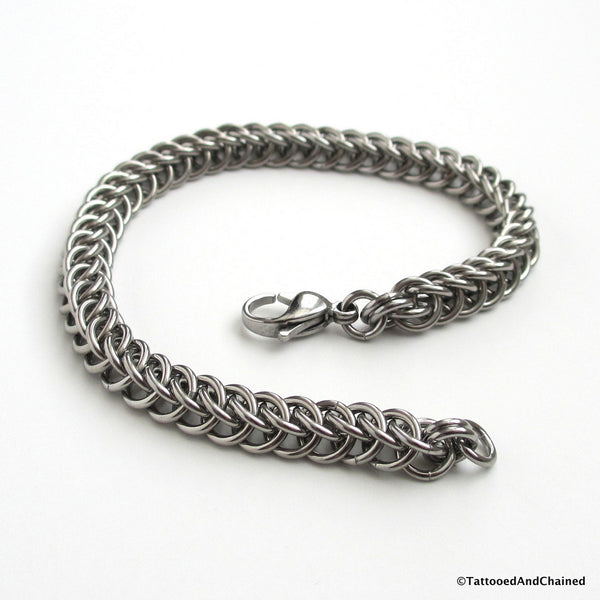 Stainless steel chainmaille bracelet, half Persian 3 in 1 weave - Tattooed and Chained Chainmaille  - 3