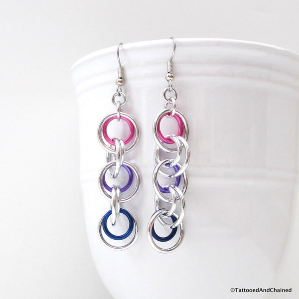 Bisexual pride earrings, simple chainmaille jewelry - Tattooed and Chained Chainmaille  - 2