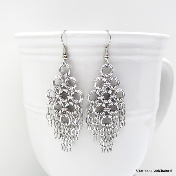 Chainmaille statement earrings, silver aluminum with steel chains - Tattooed and Chained Chainmaille  - 2
