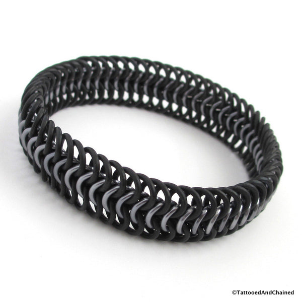 Chainmaille stretchy bracelet, European 6 in 1 weave; black and gray - Tattooed and Chained Chainmaille  - 3