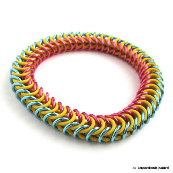 Pansexual pride stretchy bracelet, chainmaille box chain - Tattooed and Chained Chainmaille  - 3