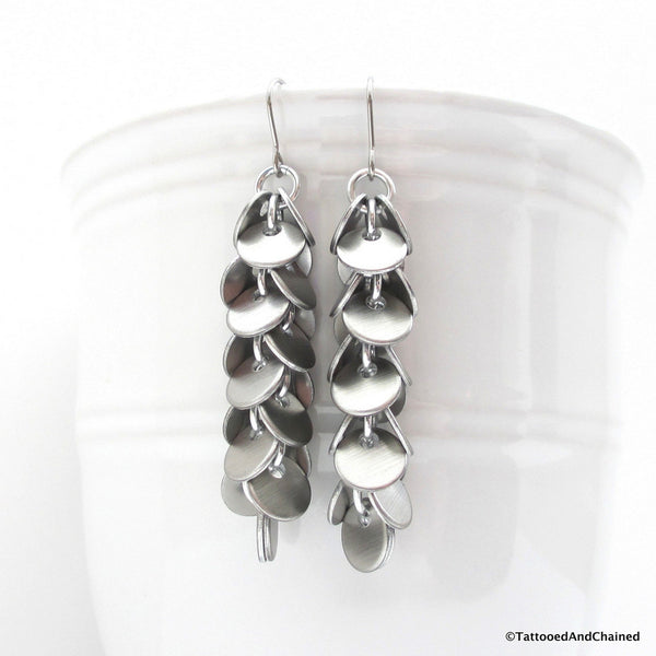 Shaggy disc chainmaille earrings, brushed aluminum - Tattooed and Chained Chainmaille  - 5