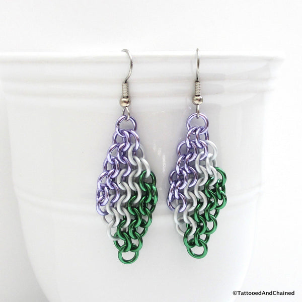 Genderqueer pride earrings, chainmaille European 4 in 1 weave - Tattooed and Chained Chainmaille  - 4