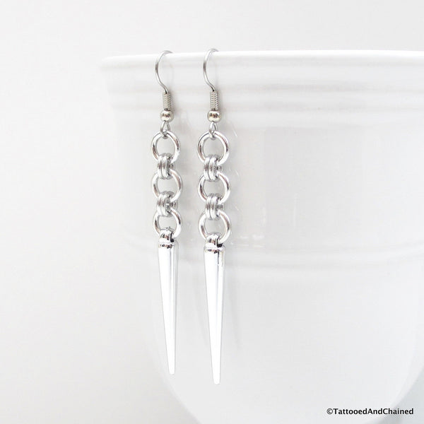 Japanese style chainmaille earrings with silver spikes - Tattooed and Chained Chainmaille  - 3