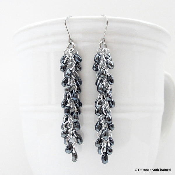 Hematite gray beaded chainmaille earrings, Shaggy Loops weave - Tattooed and Chained Chainmaille  - 5
