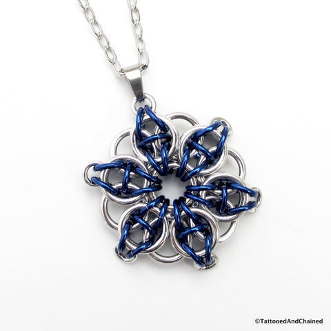 Blue chainmaille pendant, Celtic star - Tattooed and Chained Chainmaille  - 1
