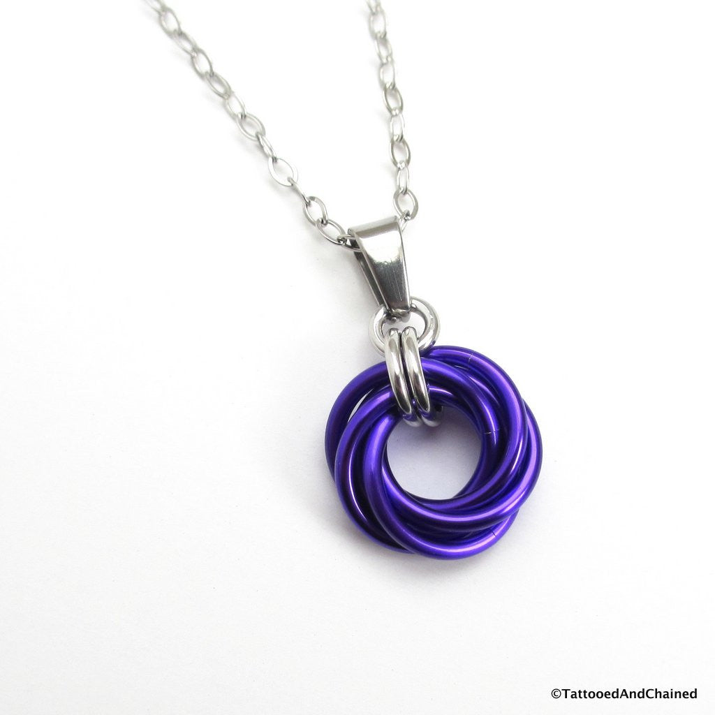 Purple chainmaille love knot pendant - Tattooed and Chained Chainmaille  - 1