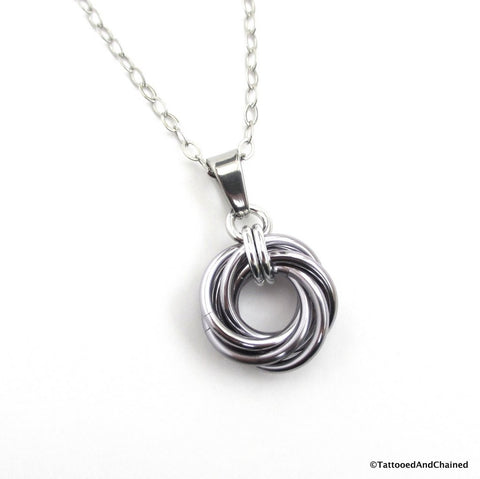 Gray pendant, chainmaille love knot - Tattooed and Chained Chainmaille  - 1
