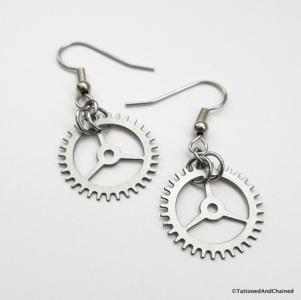 Small steampunk gear earrings, 3 spoke gear - Tattooed and Chained Chainmaille  - 1