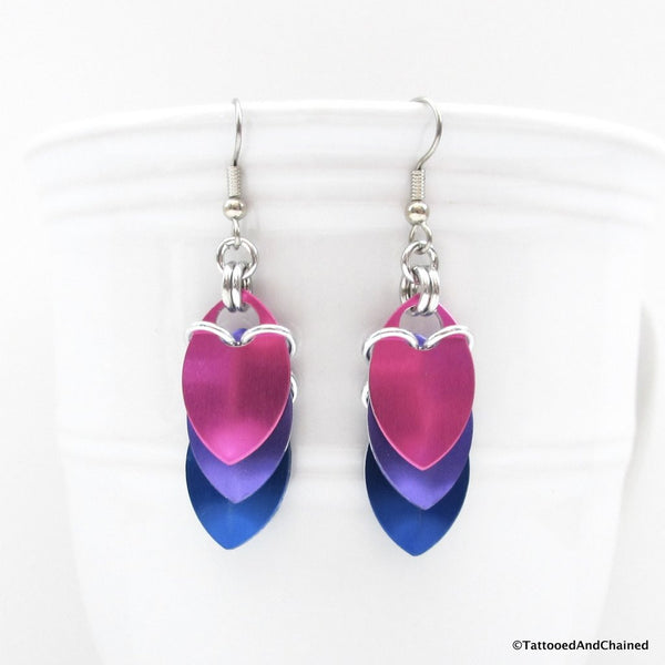 Bisexual pride earrings, chainmaille scales earrings - Tattooed and Chained Chainmaille  - 5