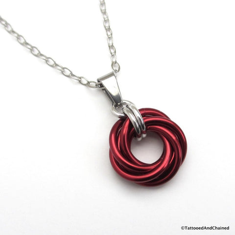 Red chainmaille love knot pendant - Tattooed and Chained Chainmaille  - 1
