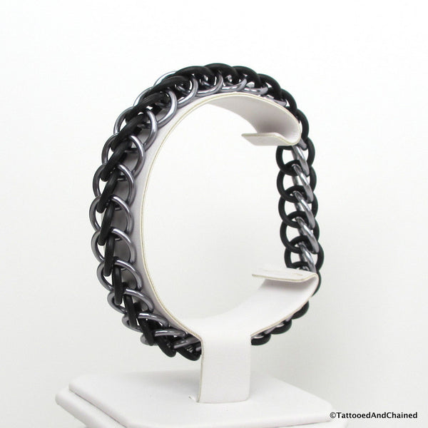 Half Persian 3 in 1 chainmaille stretchy bracelet, gray and black - Tattooed and Chained Chainmaille  - 7