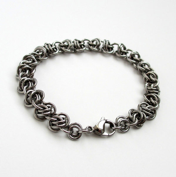 Stainless steel chainmaille bracelet, barrel weave - Tattooed and Chained Chainmaille  - 4