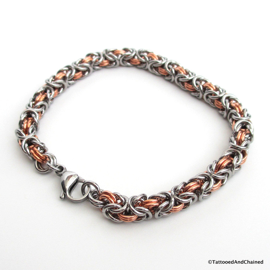 Chainmaille Byzantine bracelet, copper and steel jewelry - Tattooed and Chained Chainmaille  - 1