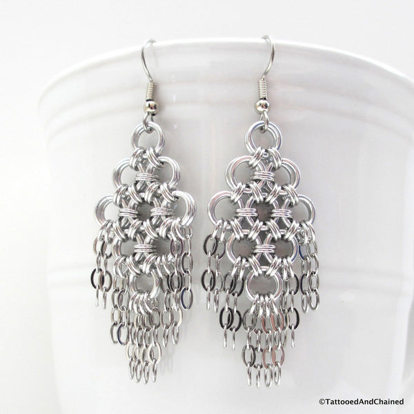 Chainmaille statement earrings, silver aluminum with steel chains - Tattooed and Chained Chainmaille  - 3