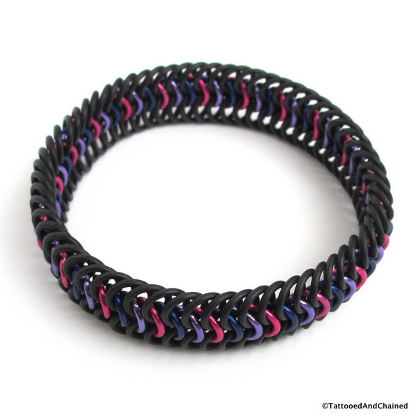 Bi pride chainmaille stretchy bracelet, European 6 in 1 weave - Tattooed and Chained Chainmaille  - 3