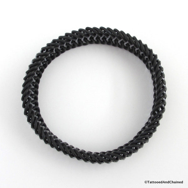 Chainmaille stretchy bracelet, European 6 in 1 weave; black and gray - Tattooed and Chained Chainmaille  - 4