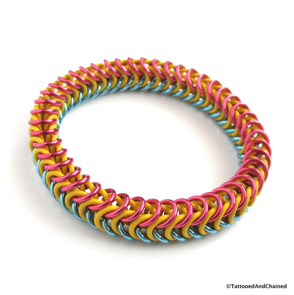 Pansexual pride stretchy bracelet, chainmaille box chain - Tattooed and Chained Chainmaille  - 2