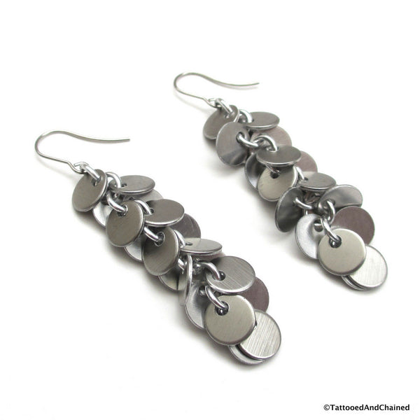 Shaggy disc chainmaille earrings, brushed aluminum - Tattooed and Chained Chainmaille  - 4