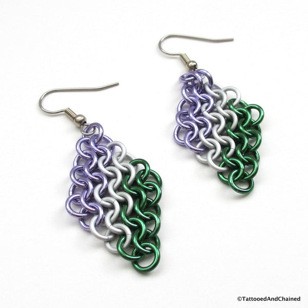 Genderqueer pride earrings, chainmaille European 4 in 1 weave - Tattooed and Chained Chainmaille  - 5