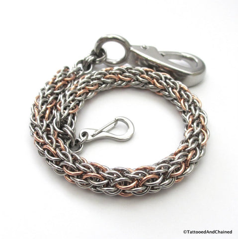 Copper and steel pocket watch chain, chainmaille candy cane cord weave - Tattooed and Chained Chainmaille  - 1