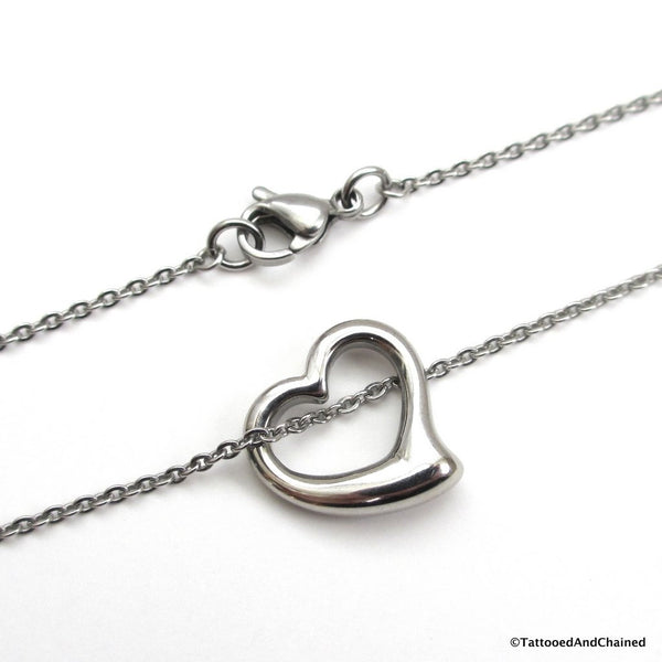 Open heart necklace, stainless steel jewelry - Tattooed and Chained Chainmaille  - 4