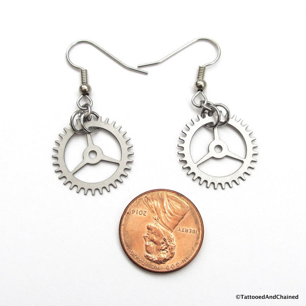 Small steampunk gear earrings, 3 spoke gear - Tattooed and Chained Chainmaille  - 4