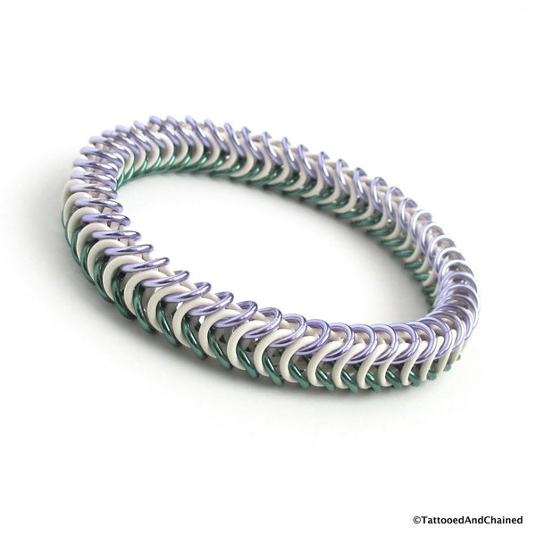 Genderqueer pride stretchy bracelet, chainmaille box chain - Tattooed and Chained Chainmaille  - 4