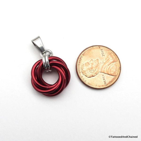 Red chainmaille love knot pendant - Tattooed and Chained Chainmaille  - 5