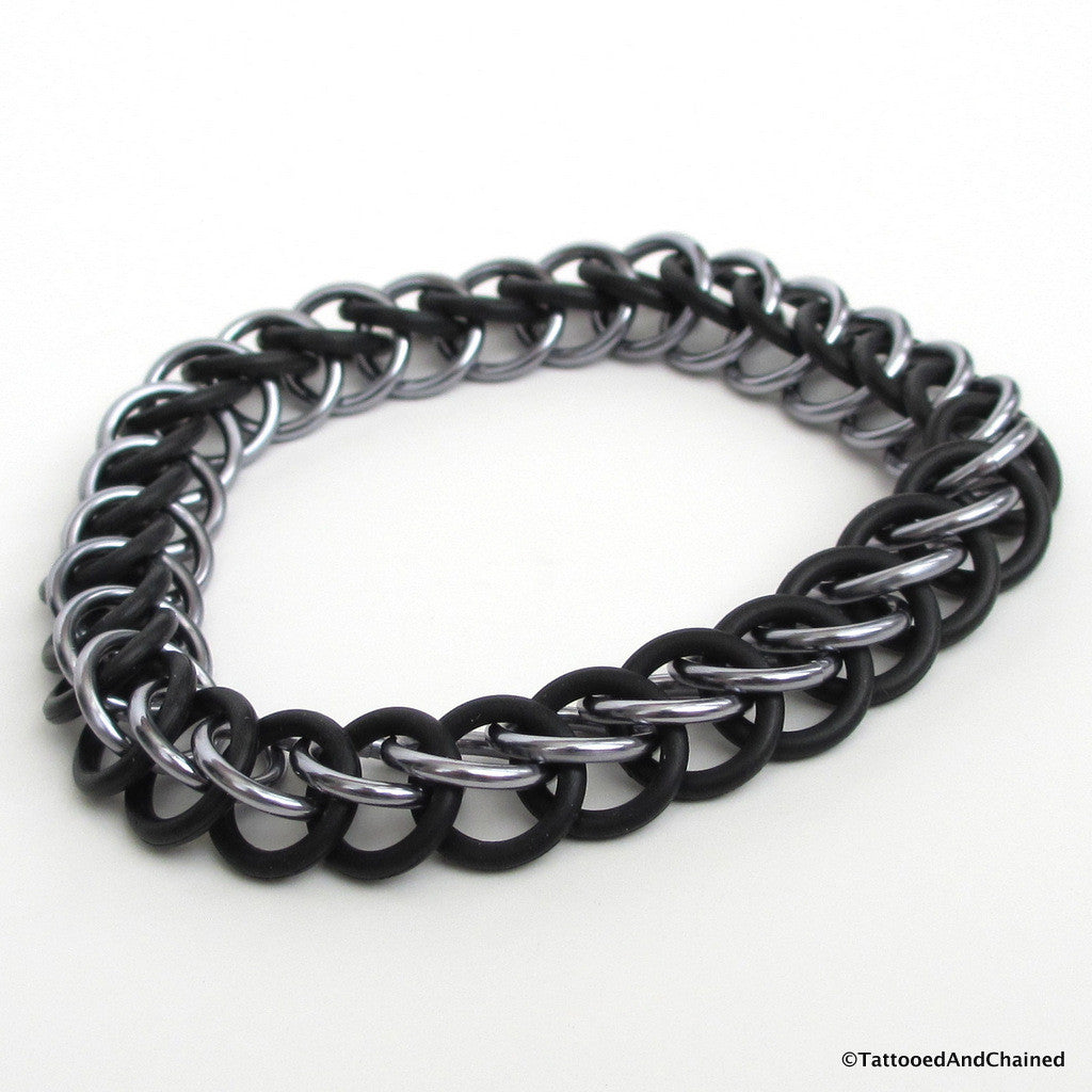 Half Persian 3 in 1 chainmaille stretchy bracelet, gray and black - Tattooed and Chained Chainmaille  - 1